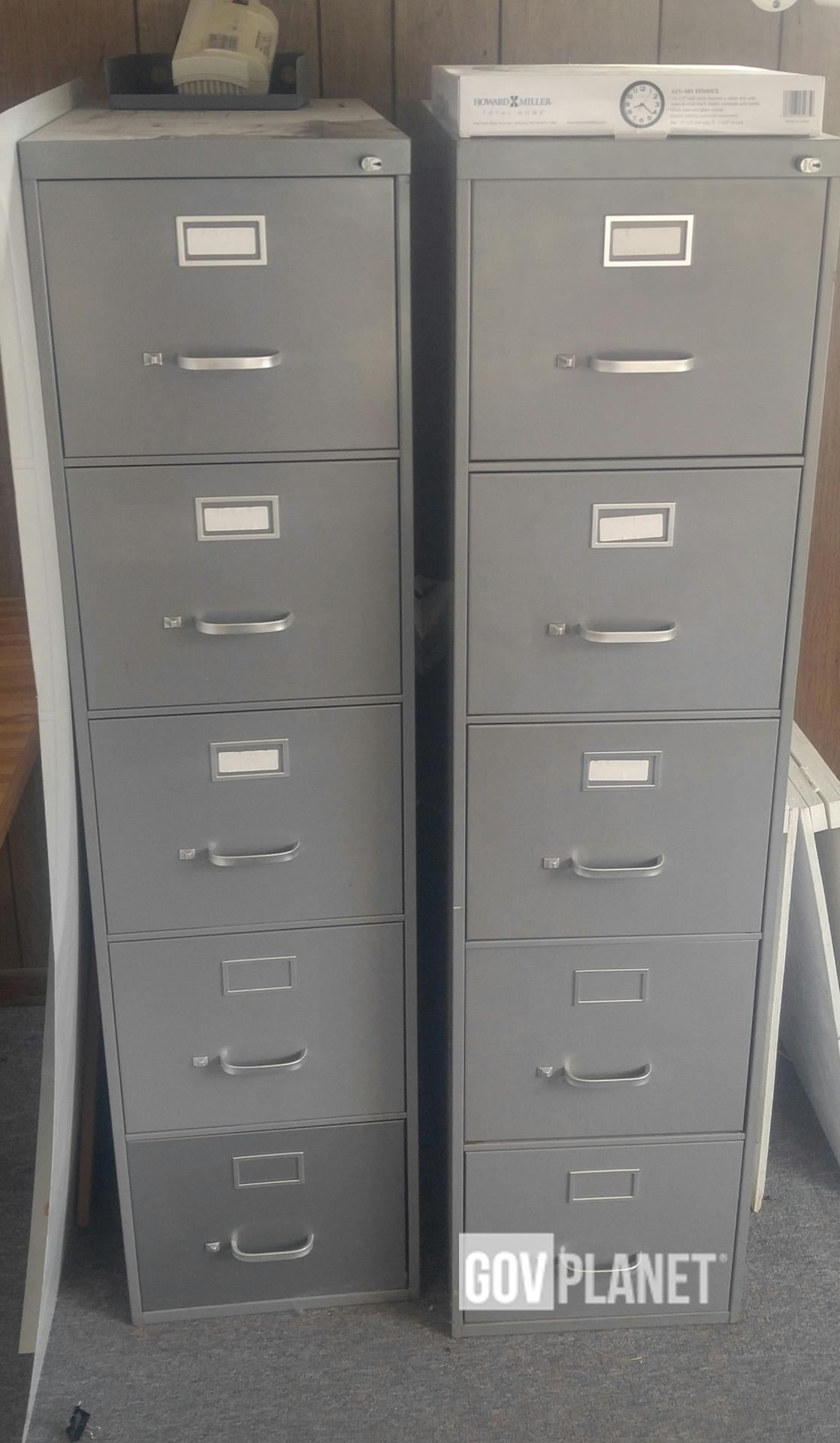 Two 5 Drawer Metal File Cabinets